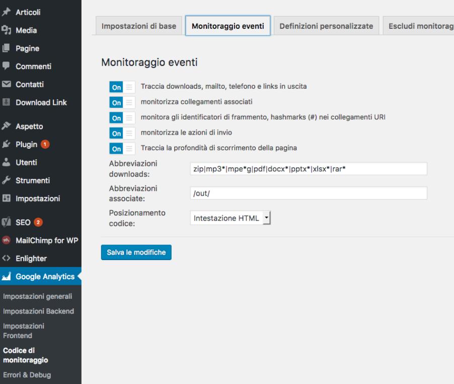 Attivazione tracciamento eventi su GADWP