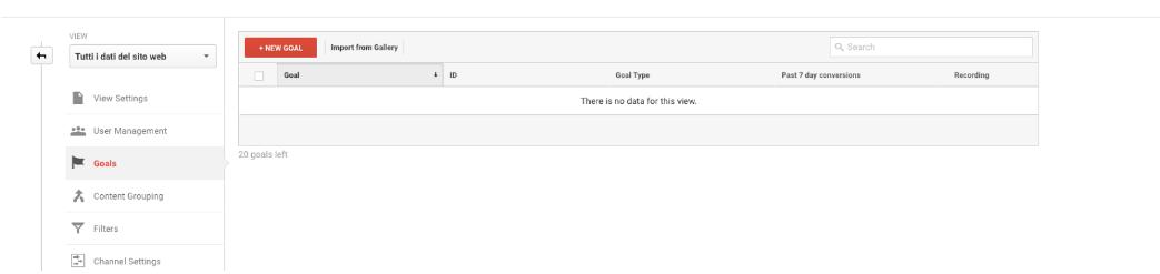 Aggiungere obiettivo su Google Analytics