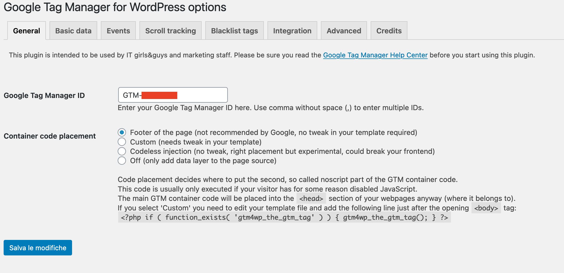 Installazione Google Tag Manager su wordpress