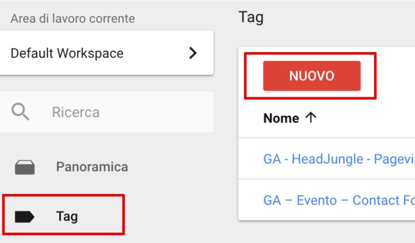 Creazione tag GTM per monitoraggio interdominio