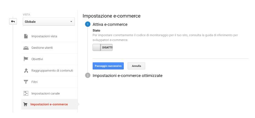 Configurazione dati e-commerce Google Analytics