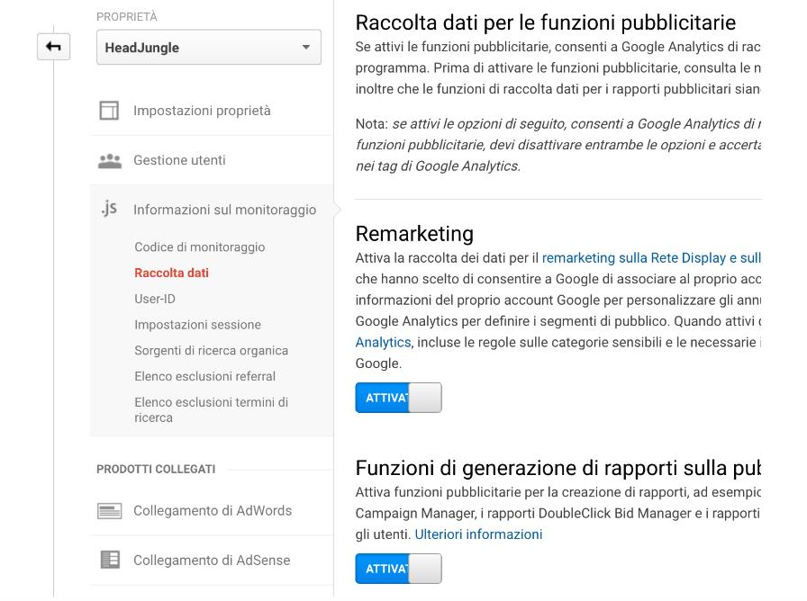 Attivazione dati remarketing Google Analytics