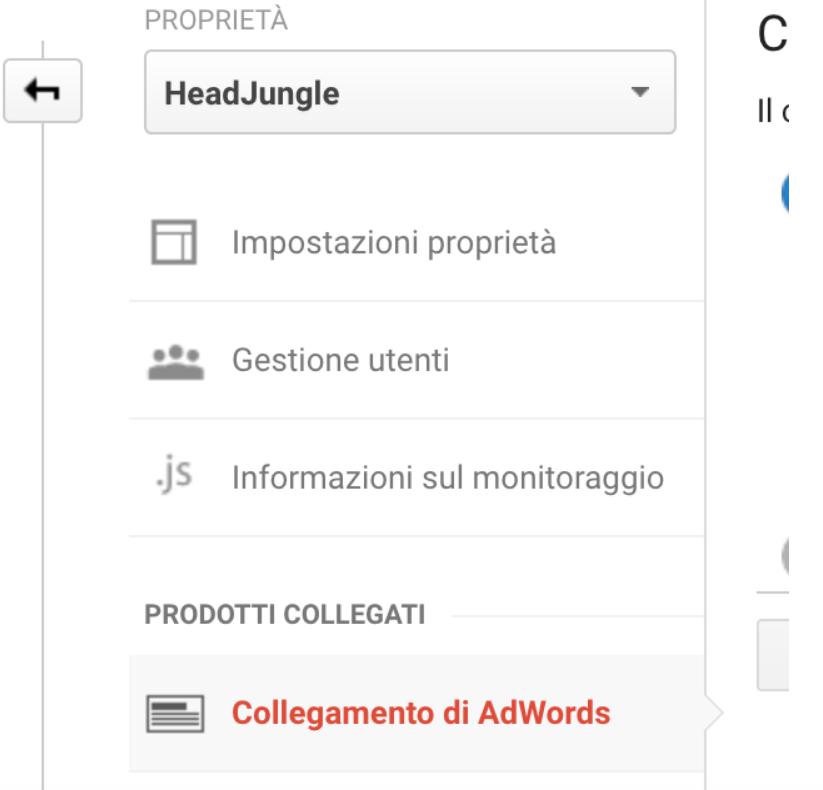Collegamento AdWords - Google Analytics