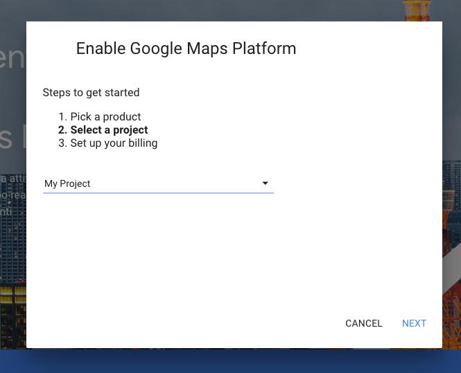 Selezione progetto Google Maps