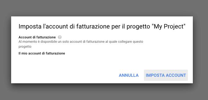 Impostazione account fatturazione Google Maps